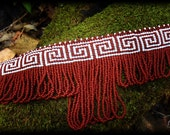 "From the ""Ariadne Collection"" Loom Beaded Choker, Greek, Crete, Meander Pattern With Fringe"