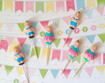 Vintage-like Children Cupcake Toppers