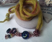 Glass Tourmaline Ancient Trade Route Pagan Witch Pendant with Hand Felted Cord