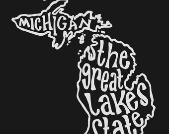 INSTANT DOWNLOAD - Michigan the Great Lakes State - 8x10 Illustrated Print by Mandy England