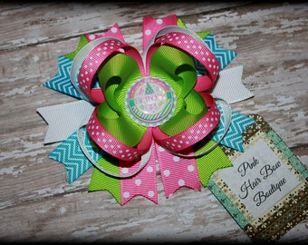 Birthday Hair Bow , Boutique Hair Bow , Birthday Girl Bow , 5 inch hair bow , Birthday hairbow , Pink Turquoise White and Lime Hair Bow