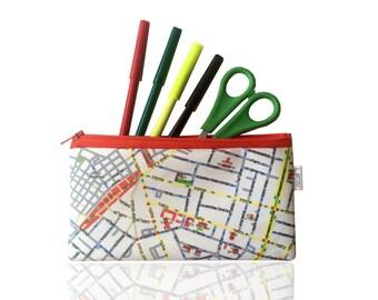 Pencil case zipper pouch with Tel Aviv map print - Pencil case / Orange zippered pouch / souvenir from Tel Aviv Israel