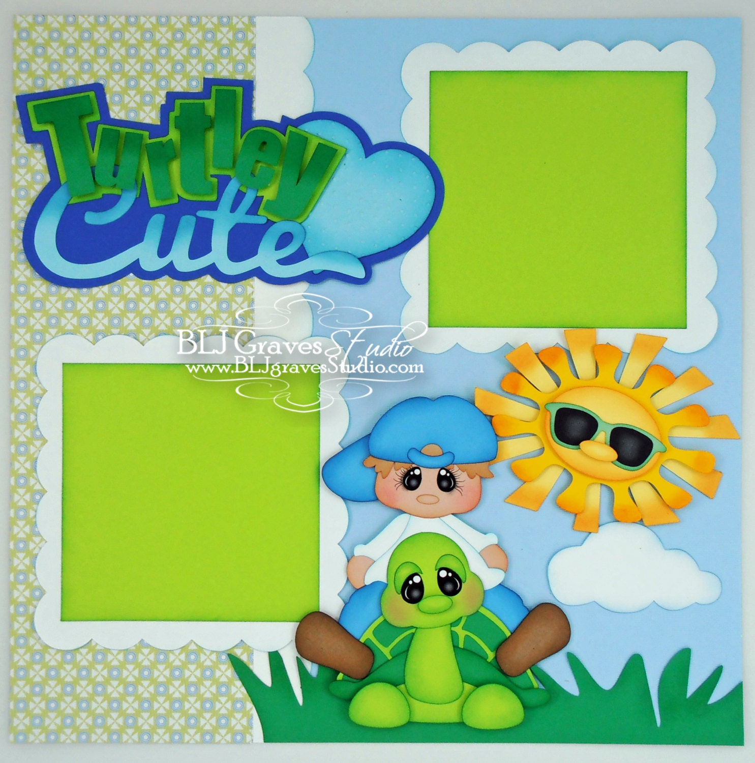 Premade Scrapbook Page Layout Paper Piecing 12x12 Turtley Cute
