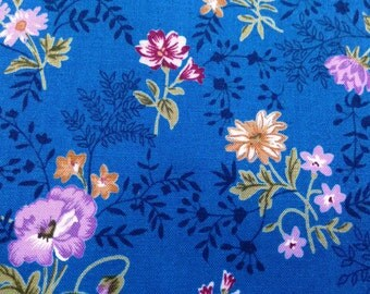 Wildflower, on blue, fat quarter, pure cotton fabric