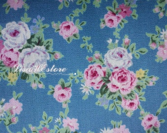 Small pink rose, blue, fat quarter, pure cotton fabric