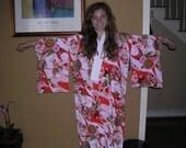 ANTIQUE JUBAN  Vintage Japanese  silk  fully lined  Roses Mums Floral    Measurements below