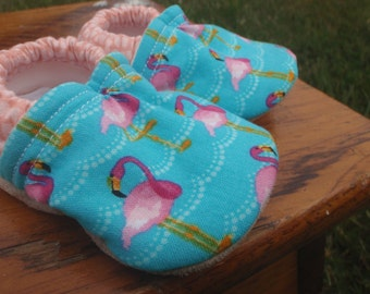 Baby Shoes for Girls -  Pink Flamingos and Blue Waves - Made to Order Sizes 0-24 months
