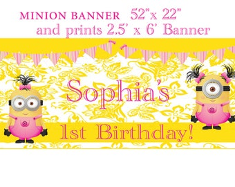 """minion banner  52""""x 22"""" and prints 2.5' x 6' Banner"""