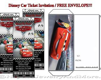 Disney Car Ticket Invitation with free matching Envelopes!!!