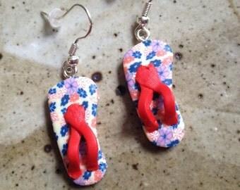 Polymer clay flip flop earrings, summer earrings