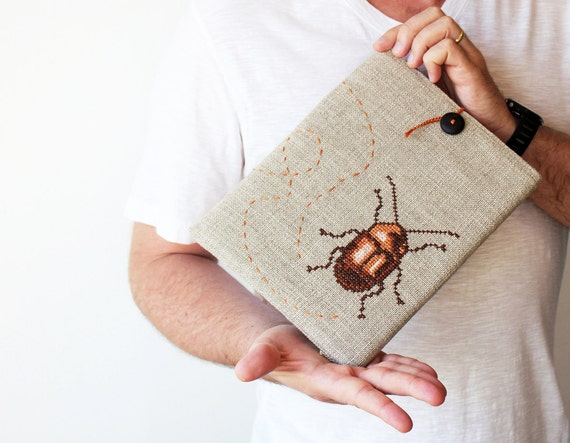 Beetle - iPad 2 3 4 case - Hands embroidery - Grey brown - Rustic - christmas gift