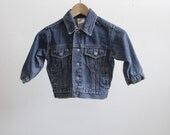 vintage BOYS blue denim BIKER jean jacket childern's coat
