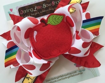 Apple Bow - Sweet to the Core - Back to School Bow - 5 to 6 inch red and white polka dot, ruler and rainbow ribbon with sweet apple center