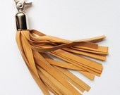 Handmade leather Tassel, keyring, bag charm, Mustard Yellow soft leather