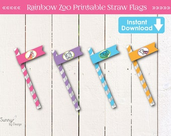 Zoo Party/ Safari Party (instant download) printable Straw Flags