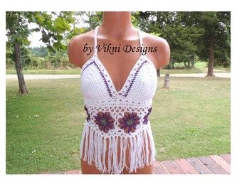 Festival Flower Fringe Halter Top, Criss Cross Crochet Top by Vikni Designs