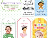 Personalize Custom tags are 10.00 - Birthday - Wedding/baby shower - With a purchase of favours