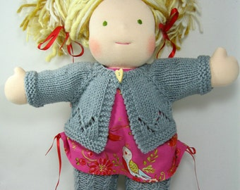 Lacy Cardigan And Cabled Tights Set For Waldorf Dolls