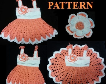 TWO CROCHET PATTERNS for Baby Girl. Crochet Dress With Flower (3-12 month)