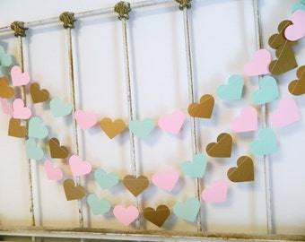 Pink and gold Birthday Decor / 10ft Mint Gold and Pink Hearts / Wedding Decor / Bridal Shower Decorations / Your color choice