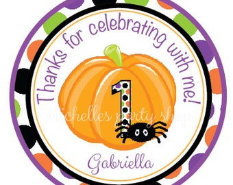 SET OF 12,  Halloween First Birthday Favor Tags