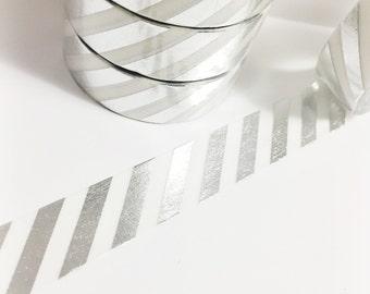 SALE Bright Shiny Metallic Silver Foil Striped Washi Tape 11 yards 10 meters 15mm Stripes Silver Stripes Silver Foil