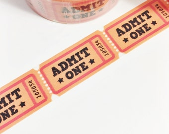 Orange Admit One Tickets Roll of Tickets Carnival Ticket Washi Tape 11 yards 10 meters 15mm