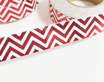 SALE Bright Red Foil Chevron Washi Tape 11 yards 10 meters 15mm Washi Tape with Paper Backing