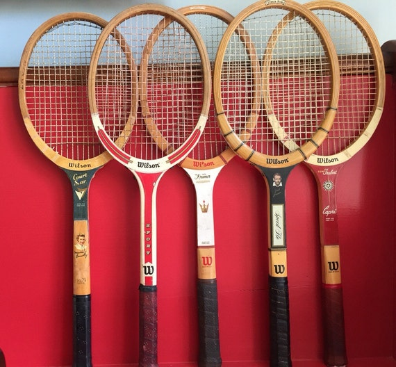vintage wilson bois tennis raquettes mid century bois tennis. Black Bedroom Furniture Sets. Home Design Ideas