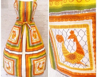 1950s novelty chicken/rooster print dress