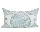 Lotus lumbar pillow cover in Mineral on Cream Linen