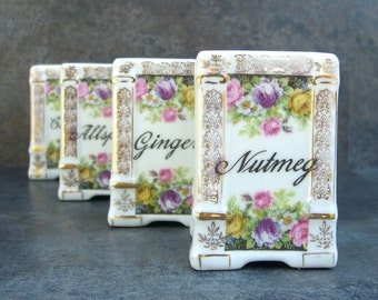 Antique Transferware Spice Jars, Victoria Czechoslovakia, White China Vintage Cottage Chic Shabby Kitchen Nutmeg Ginger Allspice Cloves