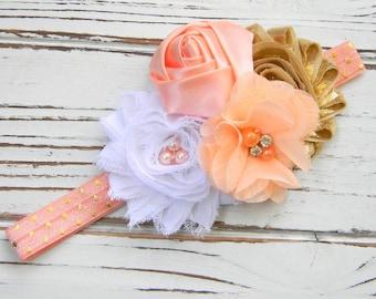 Peach and Gold Shabby Chic Headband - Girls Headband - Shabby Chic Headband - Baby Headband