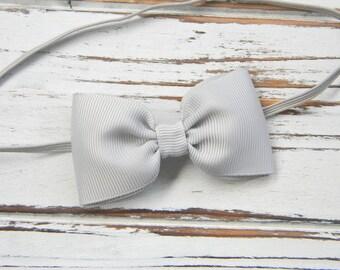 Grey Bow Headband - Newborn Bow Headband - Baby Grey Bow Headband