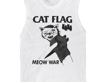Cat Flag MEOW WAR Sleeveless Tee --- Last One! Free Shipping