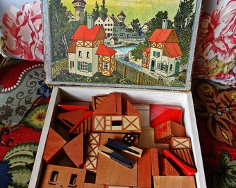 Original German Wooden Blocks, Brandt's Städte-Baukasten, Landscape Mosaic Bricks, 1900's