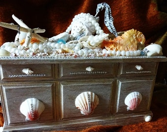 Vintage Jewelry Box, Repurposed Musical Jewelry Casket, Bedecked Shell Box, Hand Crafted, Wedding gift, Fantasy, One Of A Kind Gift