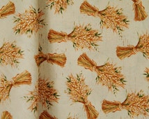 Wheat Fabric on Cream Background, Fall and Thanksgiving, Let Us Give Thanks by Kate McRostie for Windham, 100% Cotton sold By-The-Yard