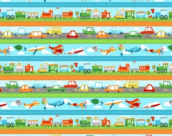 """Cars Trains and Planes Border Coordinate Fabric, """"On The Go"""" by Arrolyn Weiderhold for Wilmington, 100% Cotton, Great for Quilting, Sewing!"""