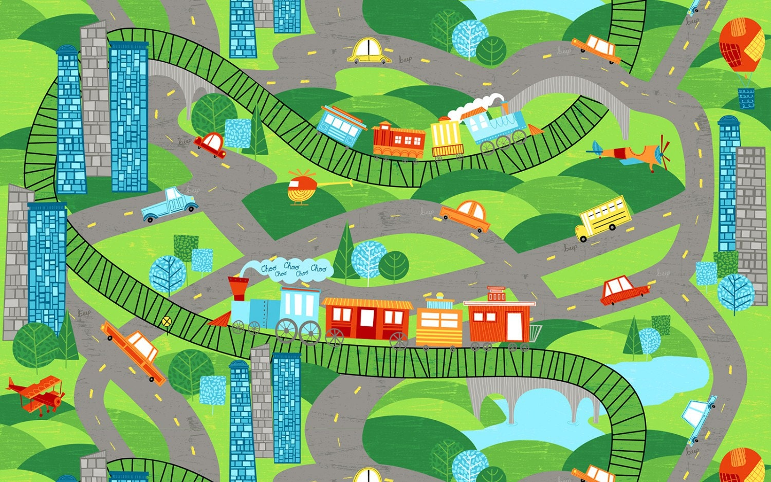 Roads and train tracks for play fabric on the go by for Train print fabric