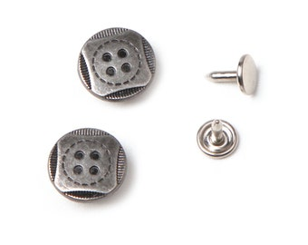 10 sets 17 mm  buttons denim No Sew  jeans tack metal buttons antique silver button fastener with manual - Square