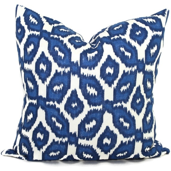 Cobalt Blue Ikat Decorative Pillow Cover 18x18 20x20 22x22