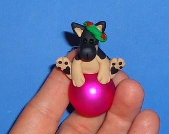 Polymer Clay German Shepherd Dog on Glass Ornament