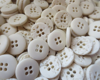 """Ivory Buttons  5/8"""" Plastic 4 Hole Bulk Lot 16mm Neutral Stone Look 100 gms"""