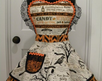 Womens Aprons-Something Wicked Halloween Flounce Apron
