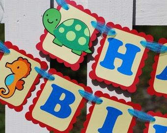 Under the Sea Birthday Banner, Turtle Seahorse Starfish Fish Primary Colors