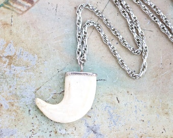 Canine Tooth Pendant - Fang Necklace - Horn Boho Jewelry