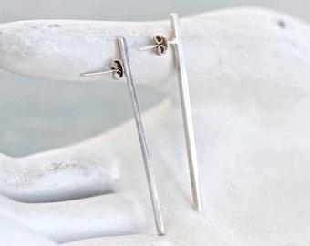 Minimalist Sterling Silver Earrings - Vertical Bar
