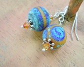 Organic Lampwork Earrings Cobalt Turquoise Yellow Etched