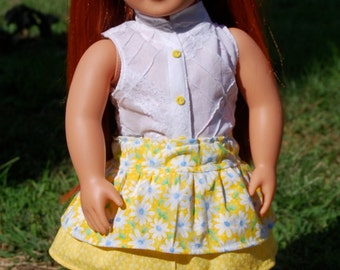Yellow Flowered Skirt with a White Sleeveless Top for 18 Inch Dolls